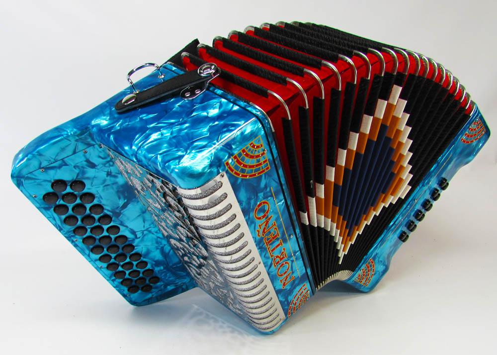Norteño Brand Accordion No Registers Sky Blue/Red Sun