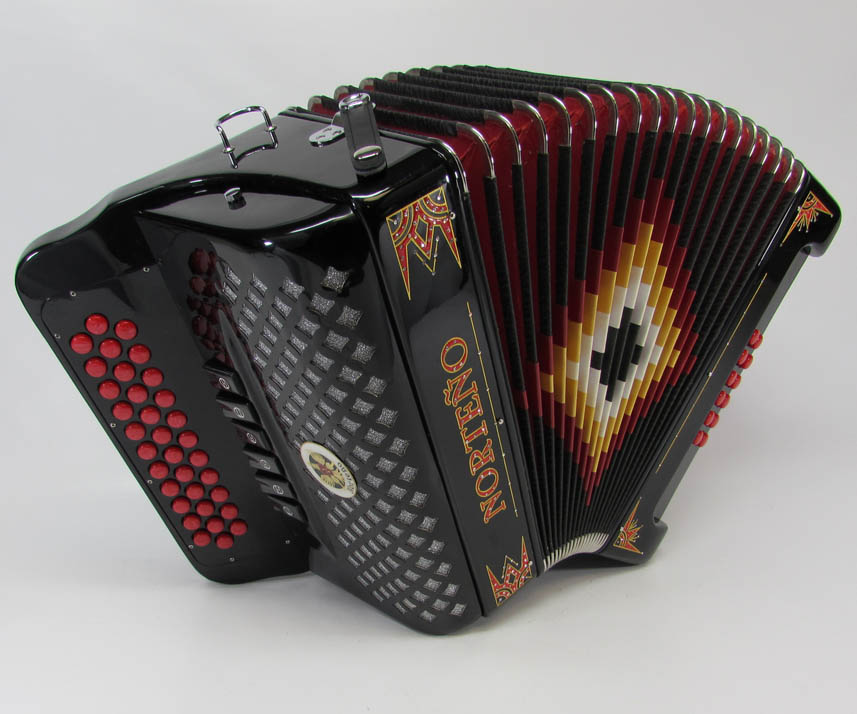 Norteño Brand Accordion 2Tone Black/Red Euro