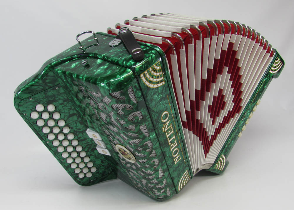 Norteño Brand Accordion 3 registers Green/white sun