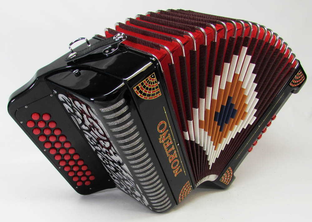 Norteño Brand Accordion No Registers Black/Red Sun