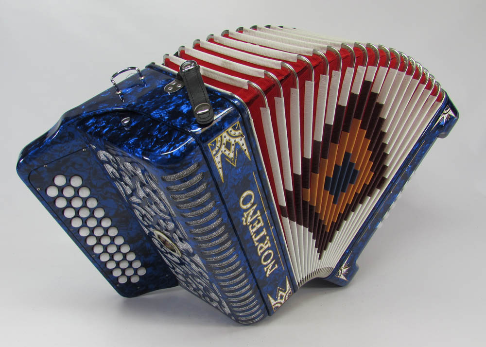 Norteño Brand Accordion No Switch Blue/white euro